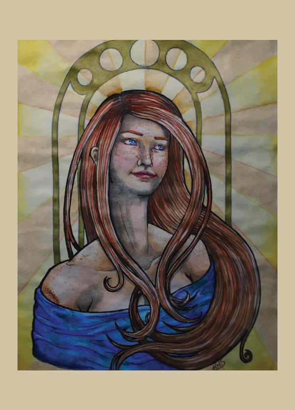 Art Nouveau portrait door Mirte Stamkot