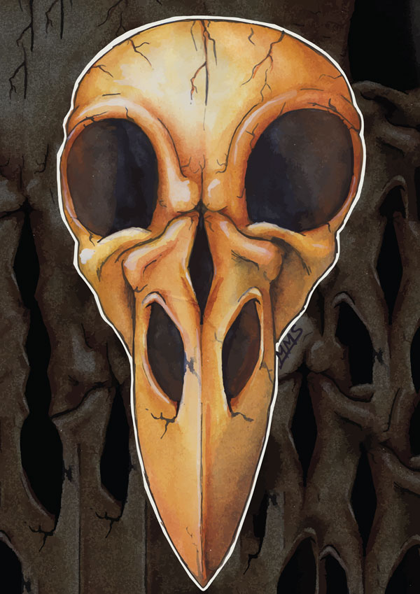 bird skull poster door Mirte Stamkot