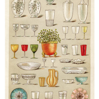 Mrs Beetons Table Glass Print