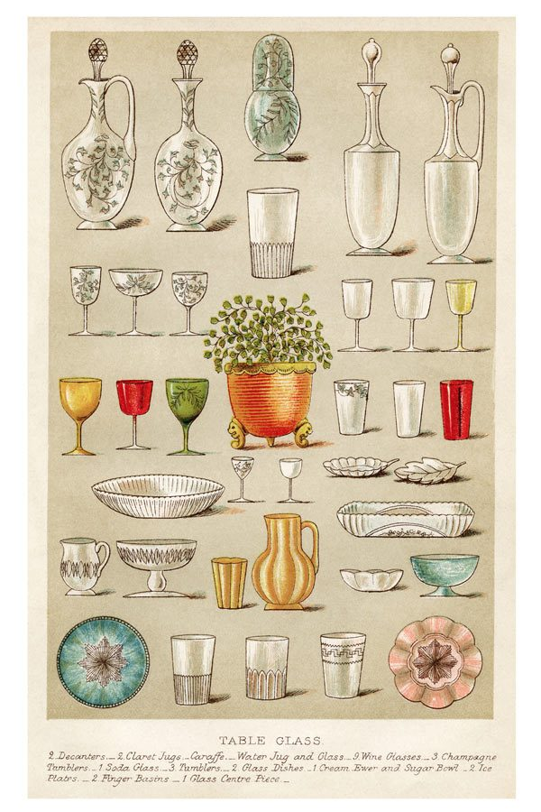 Mrs Beetons Table Glass Print