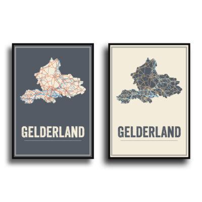 Gelderland poster kaart