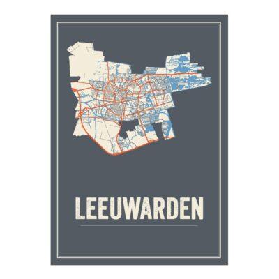 Leeuwarden poster kaart