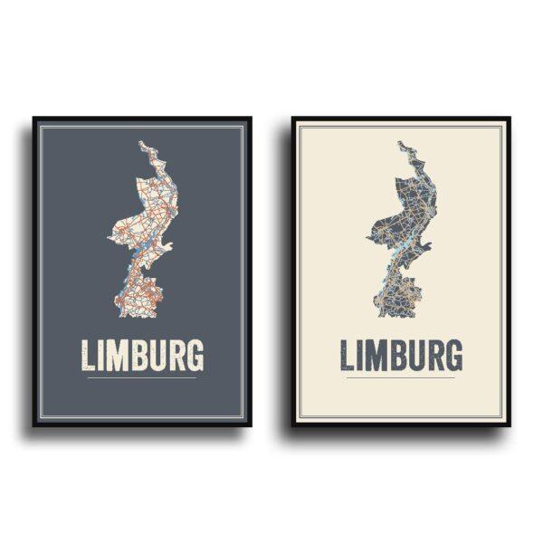 Limburg poster kaart