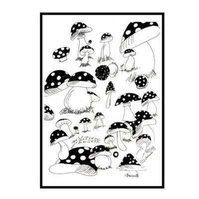 mushroom marathon black and white poster