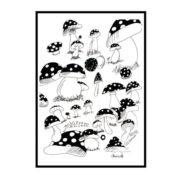 mushroom marathon black and white poster