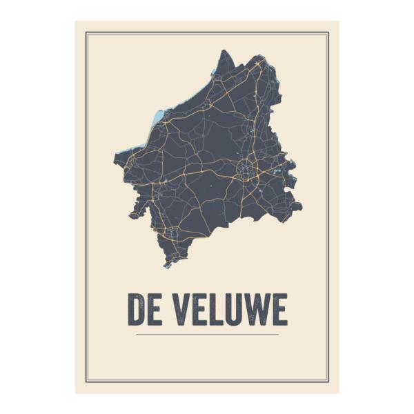 poster kaart van De Veluwe