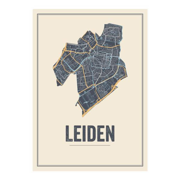 poster stadkaart Leiden