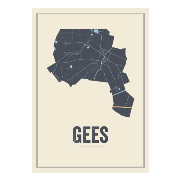 landkaart poster Gees, Nederland