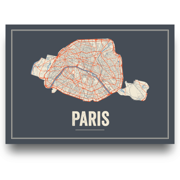 Paris city map poster