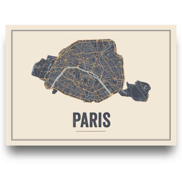 Paris poster stadskaart