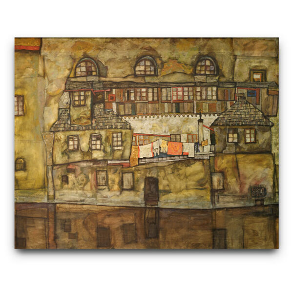 Egon Schiele- House wall on the river