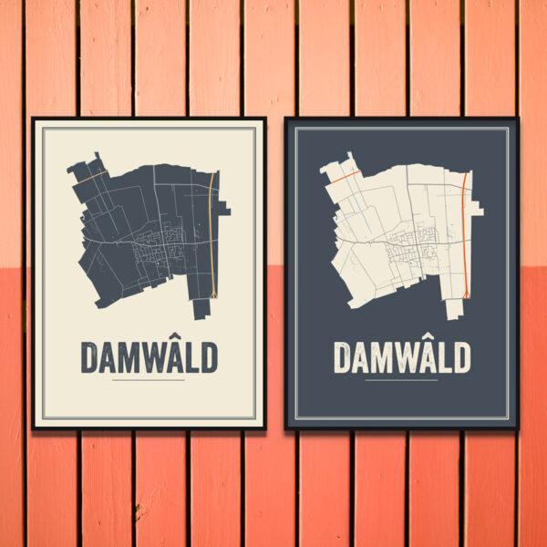 Damwald stadskaart poster