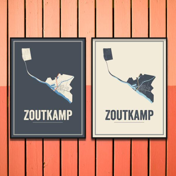 Zoutkamp stadskaart poster