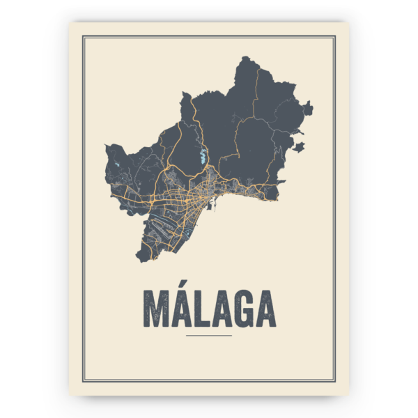 Malaga stadskaart poster