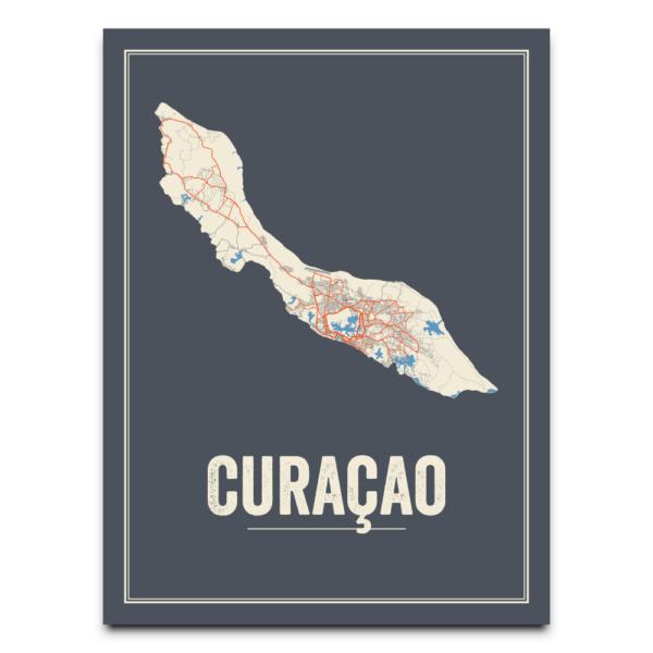 Curacao poster kaart
